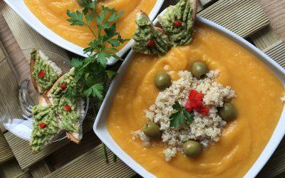 Crema de calabaza con patatas y quinoa-Comida Vegana